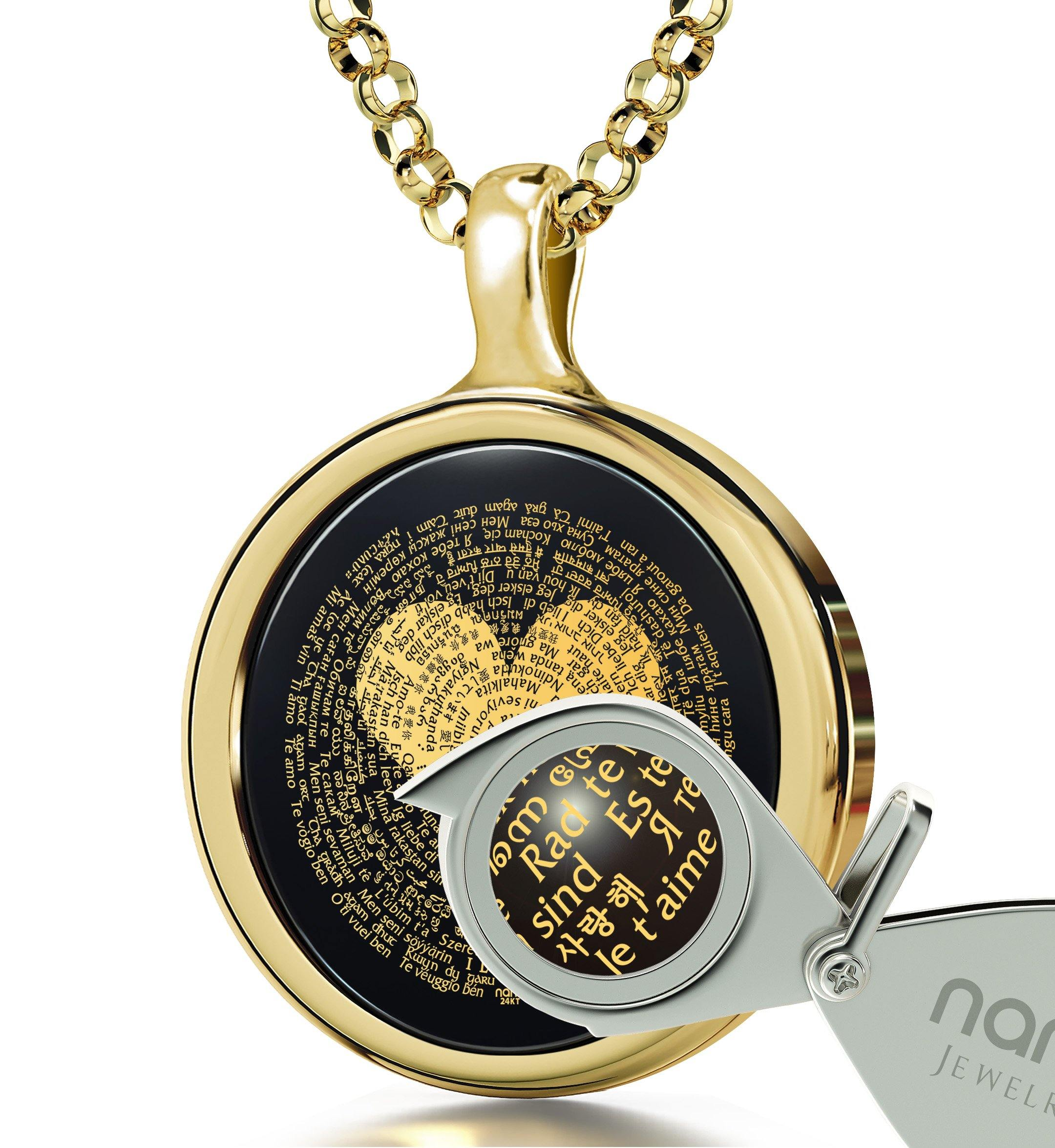 "Thoughtful Birthday Gifts for Her: ""I Love You"" in All Languages - Oval - Nano Jewelry"