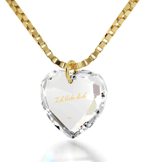 "I Love You in German ""IchLiebe Dich"" Engraved in 24k Pure Gold, Swarovski Necklace, Good Gifts for Girlfriend"