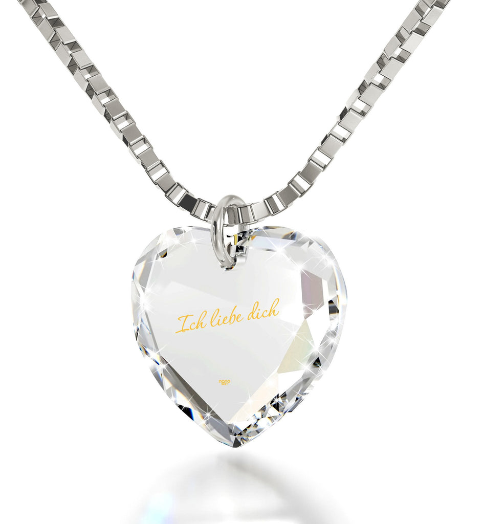 """I Love You"" in German ""Ich Liebe Dich"" Engraved in 24k Pure Gold, Swarovski Necklace, Good Gifts for Girlfriend"