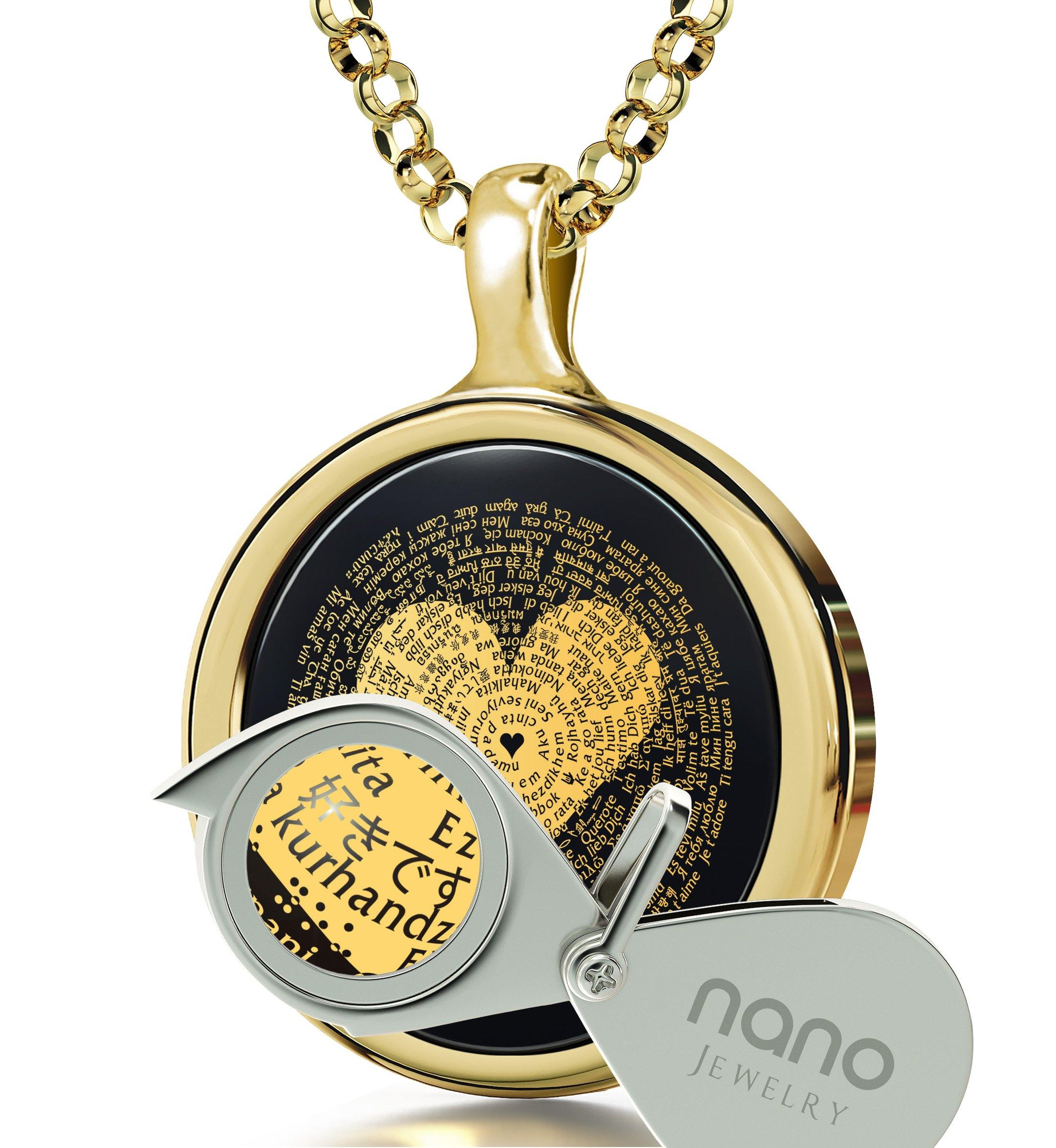 "Best Luxury Gifts for Her: ""I Love You"" in 120 Languages - Round Plain - 14K Gold - Nano Jewelry"
