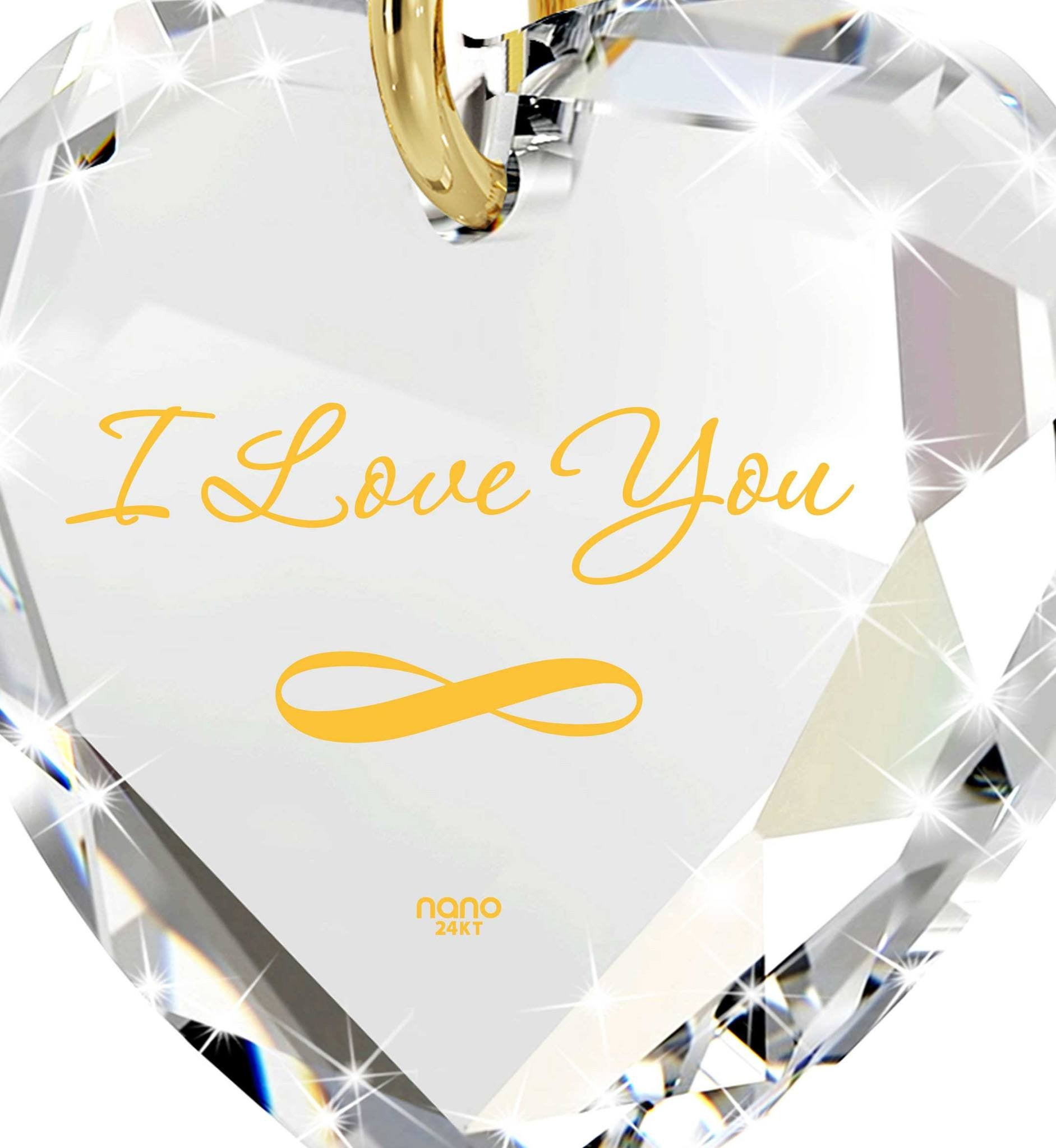 """I Love You Infinity"" in 24k Gold, Girlfriend Birthday Ideas,Womens Presents, Nano Jewelry"