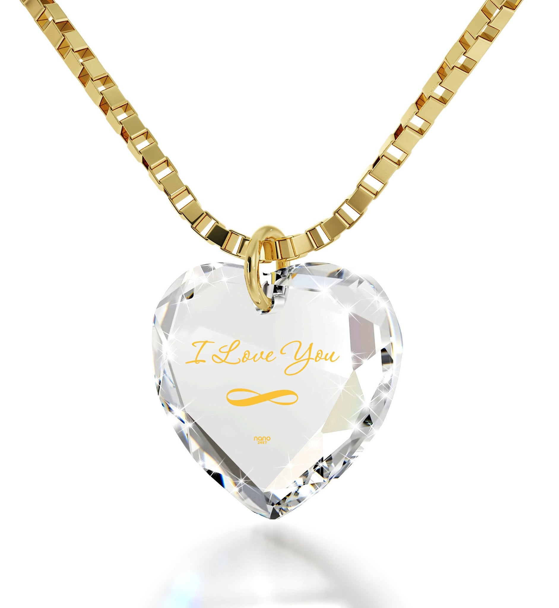 """I Love You Infinity"" Imprint, Top Gift Ideas for Women, Cool Xmas Presents, Swarovksi Crystal Jewelry"