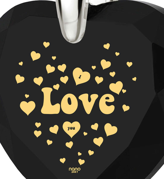 """I Love You"" Jewelry, Engraved In 24k Gold, Heart Necklaces for Girlfriend, Valentines Day Ideas"