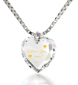 """I Love You More"" 24k Gold, Wife Birthday Ideas, Heart Necklaces for Girlfriend, Meaningful Jewelry, Nano"