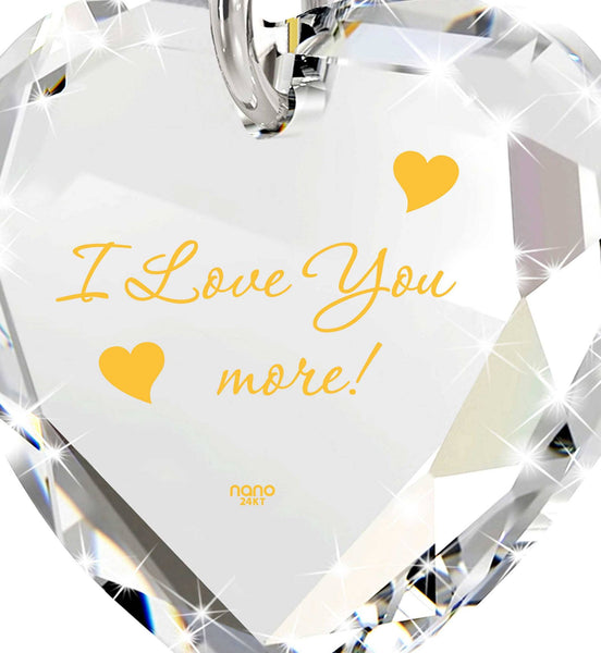 """I Love You More"" Imprint, Great Valentines Gifts for Her, Good Presents for Girlfriend, White Stone Necklace"