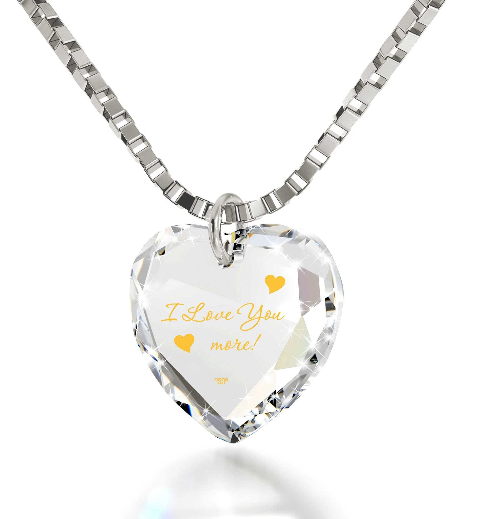 """I Love You More"" in 24k Gold, Xmas Ideas for Her, Birthday Ideas for Girlfriend,Swarovksi Crystal Jewelry"
