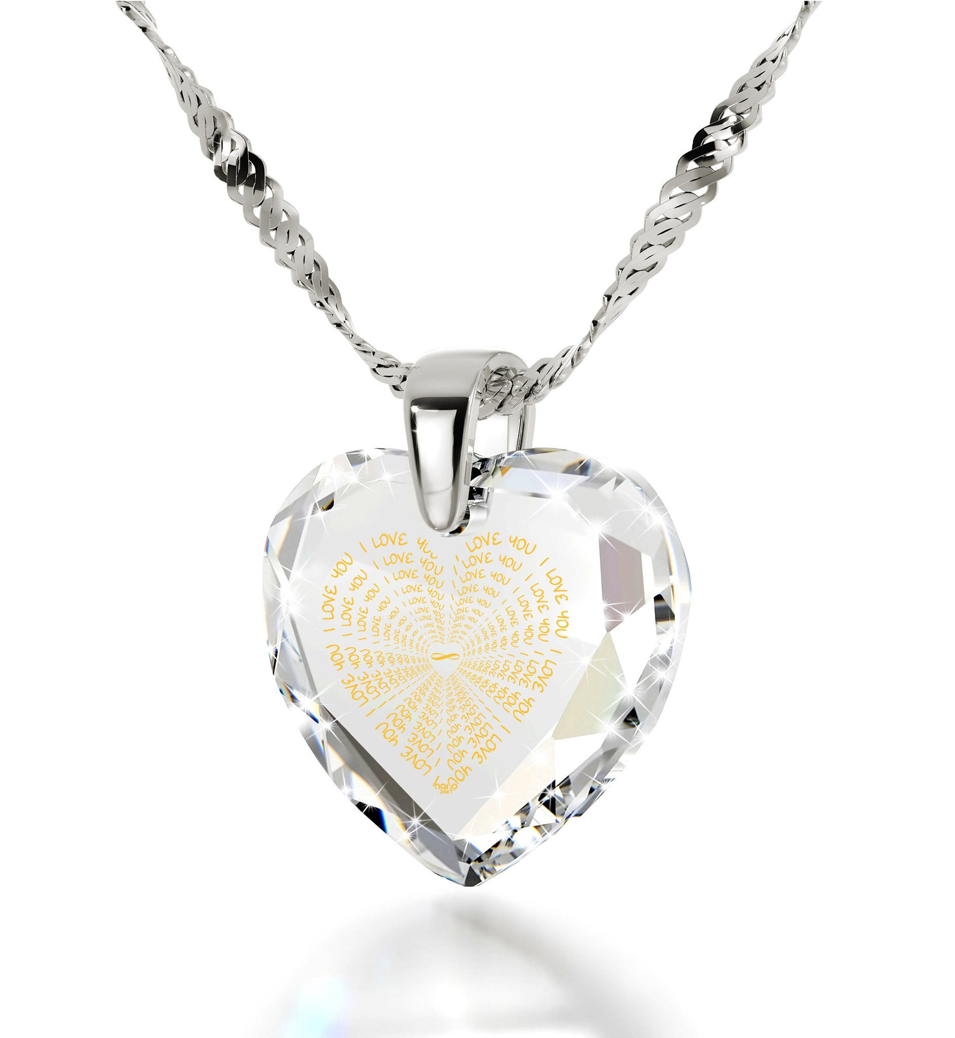 """I Love You"" Necklace, Clear CZ Jewelry, Best Valentine Gift for Her"