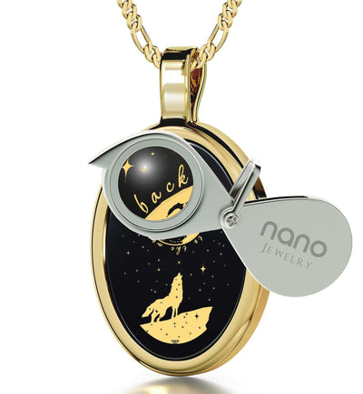 "Valentines Day Presents, 14k White Gold, ""I Love You to the Moon and Back"" Necklace, Cool Gift for Women, Onyx Jewelry"