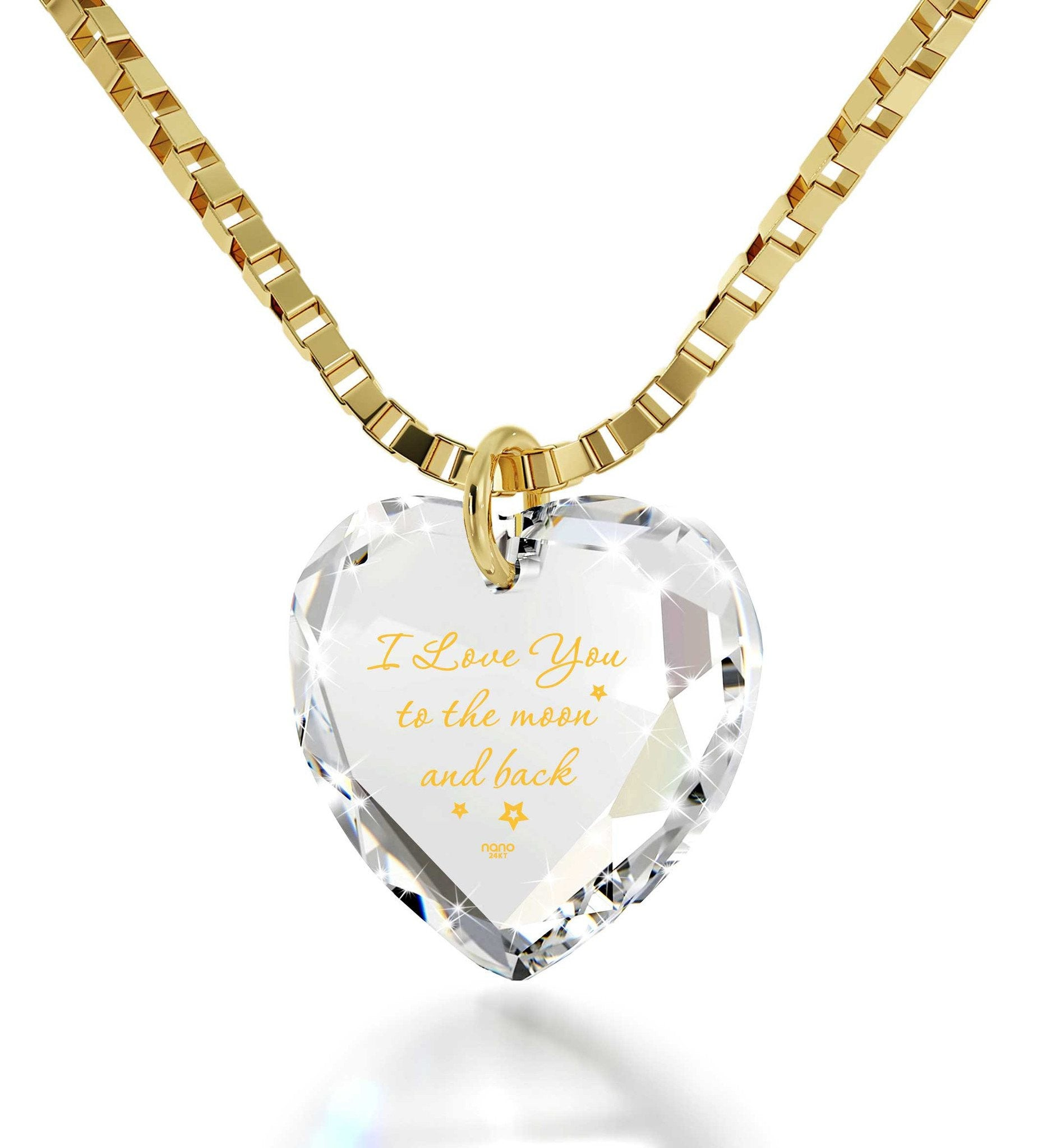 "Valentines Day Surprise for Her - ""I Love You to The Moon and Back"" in 24k Gold, Nano Jewelry"