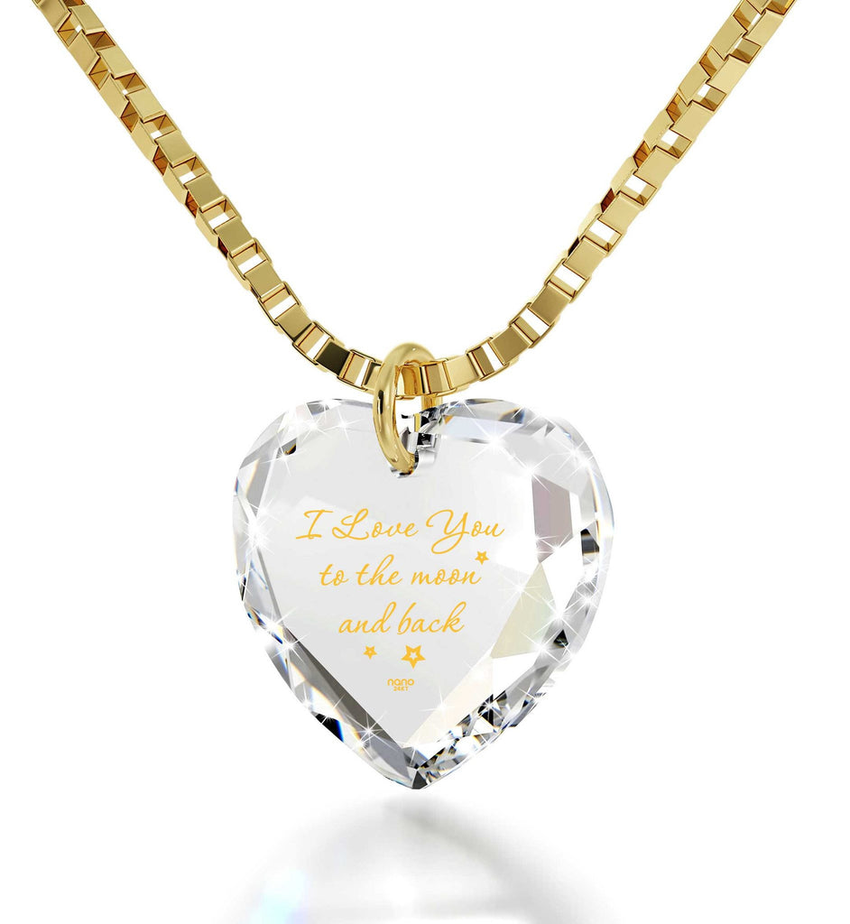 """I Love You to The Moon and Back"" in 24k Gold, Unusual Xmas Gifts, Pure Romance Products, Nano Jewelry"
