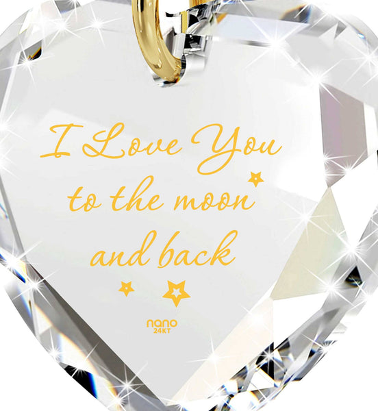 """I Love You to The Moon and Back"" Imprint, Top Womens Gifts, Good Presents for Girlfriend, Swarovksi Crystal Jewelry"