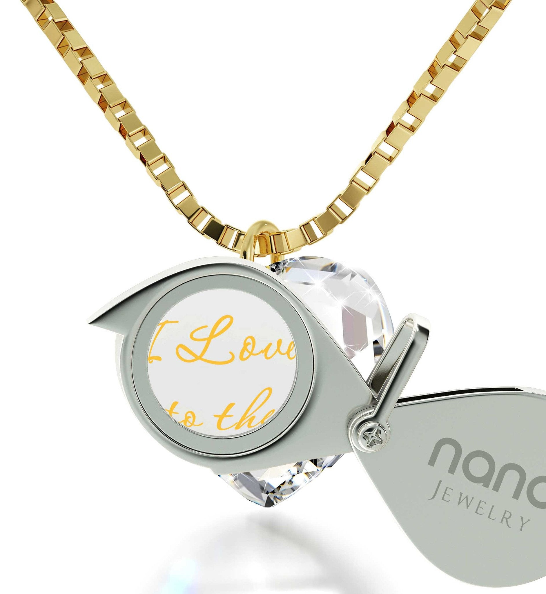 """I Love You to The Moon and Back"" Imprint, Cute Necklaces for Her,Womens Presents, Nano Jewelry"