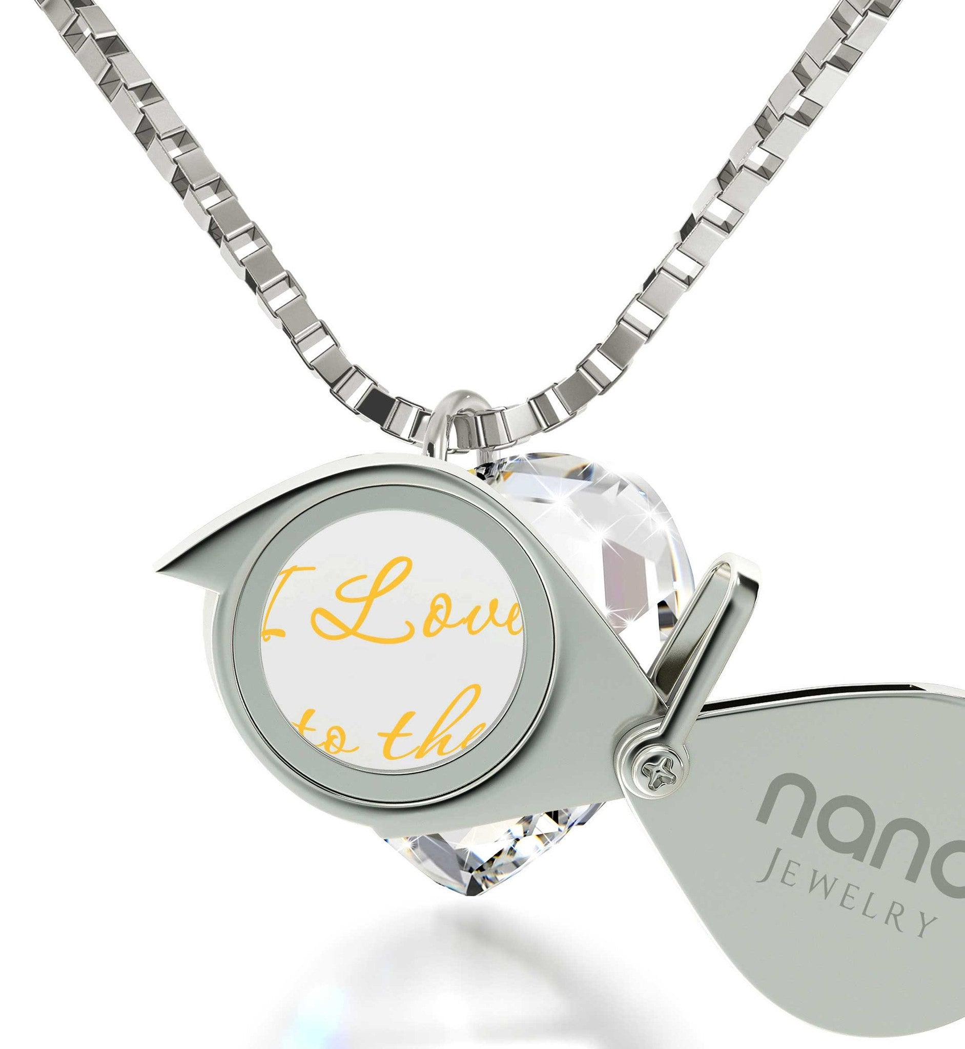 """I Love You to The Moon and Back"" Imprint, Cute Necklaces for Her, Womens Presents, Nano Jewelry"