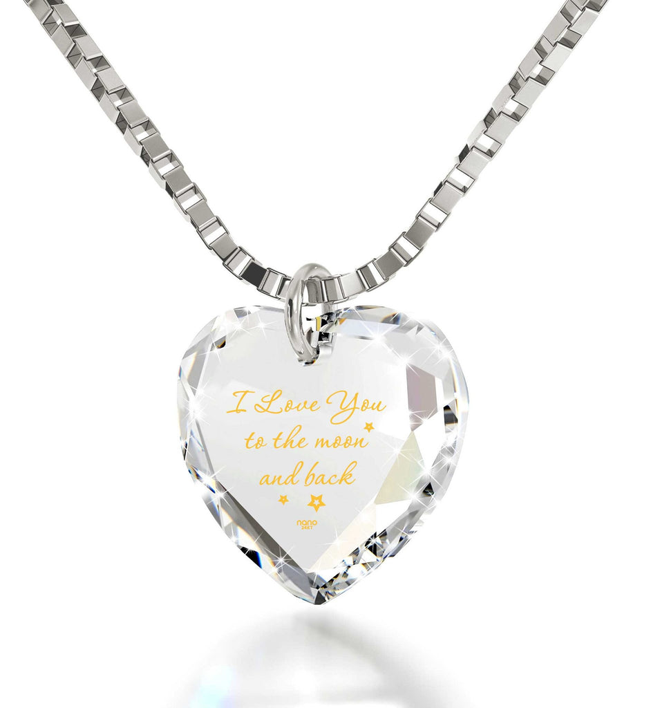 """I Love You to The Moon and Back"" Imprint, Top Womens Gifts, Heart Necklaces for Girlfriend, Nano Jewelry"