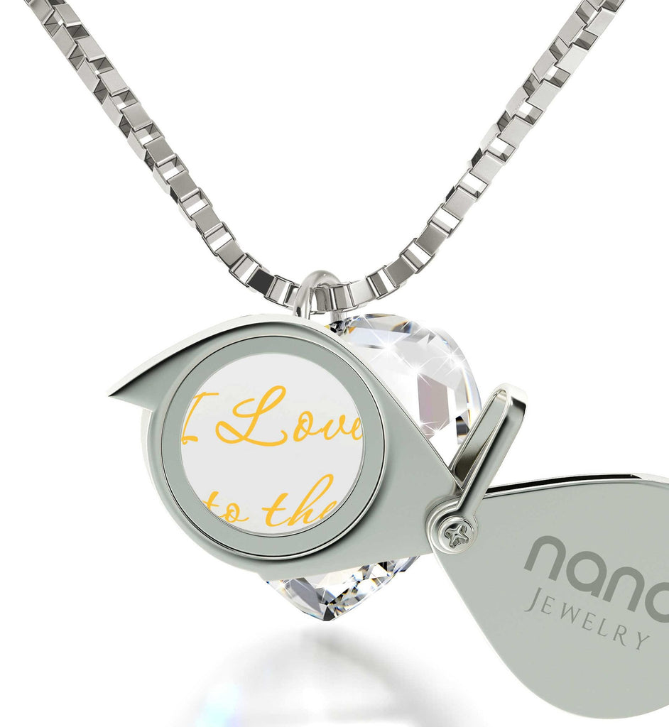 """I Love You to The Moon and Back"" Imprint, Great Valentines Gifts for Her,Womens Presents, Nano Jewelry"