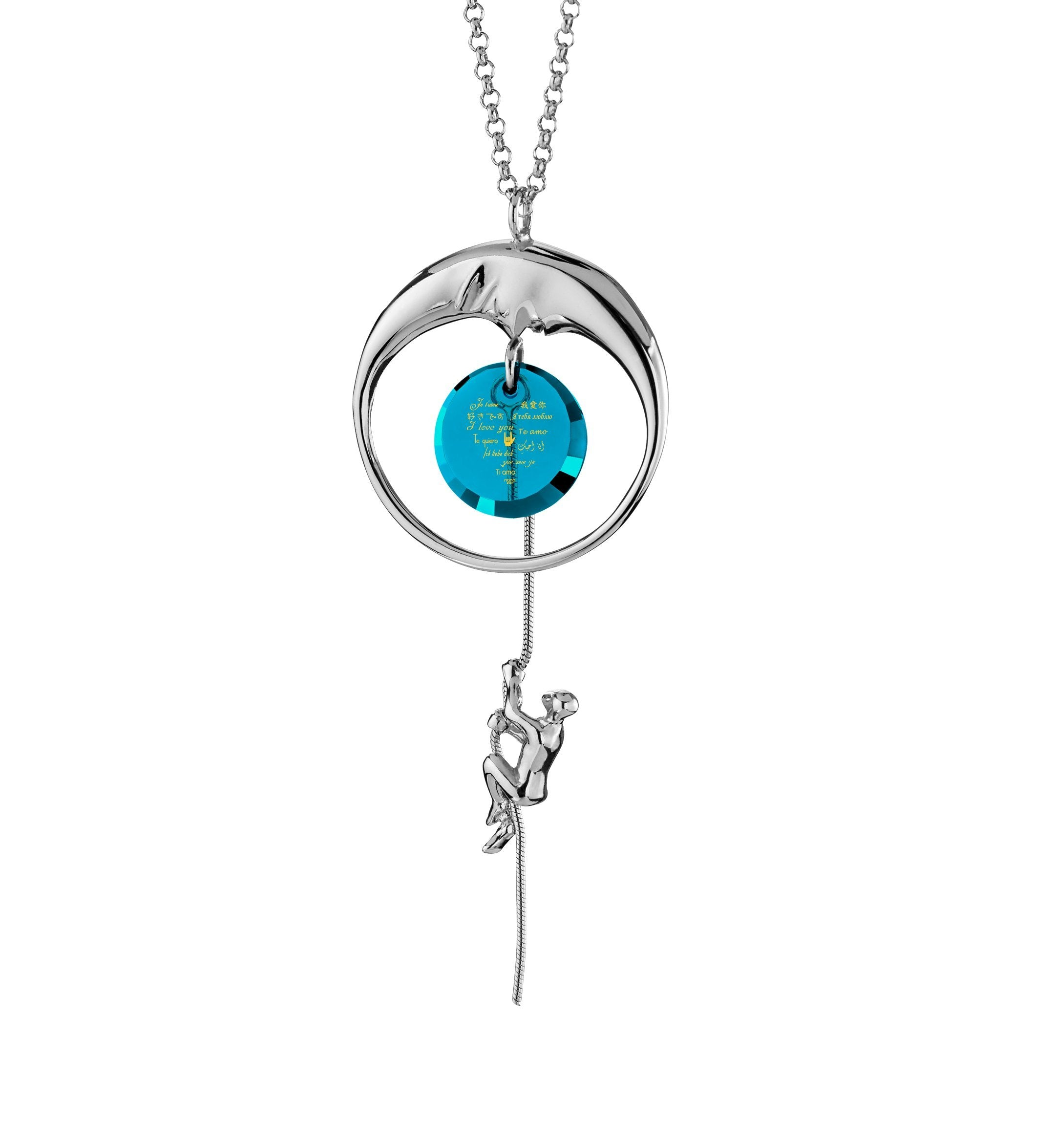 Perfect Valentines Gift for Girlfriend: I Love You to the Moon and Back - climber - Nano Jewelry