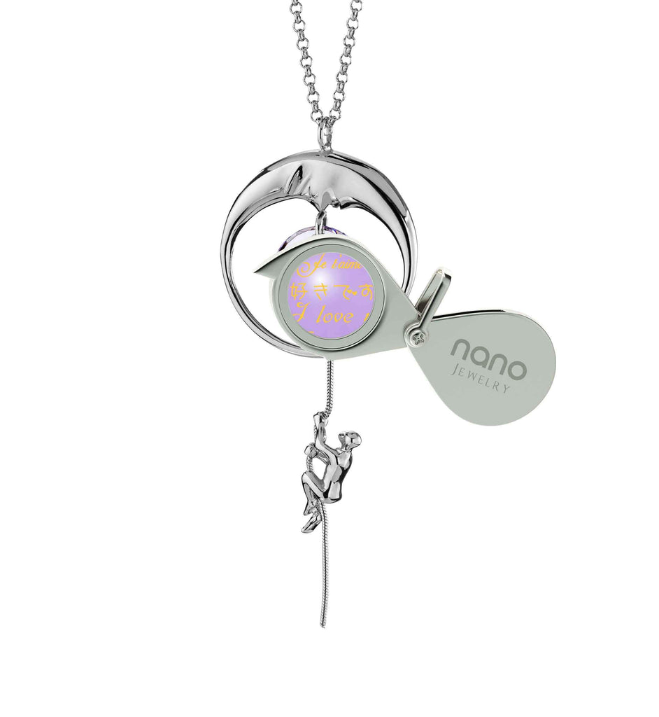 Valentines Necklaces for Girlfriend: I Love You to the Moon and Back - climber - Nano Jewelry