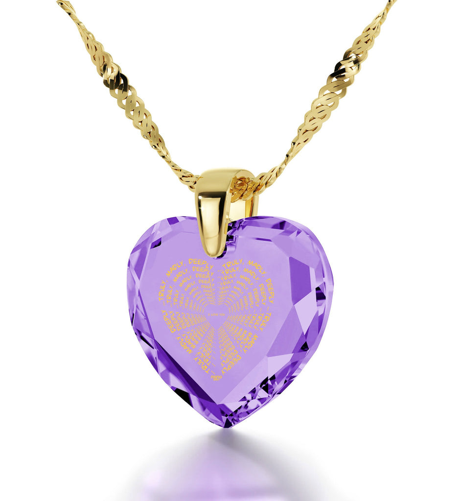 """Girlfriend Christmas Presents, Gold Pendants for Womens, CZ Purple Heart, Great Anniversary Gifts for Her by Nano Jewelry"""