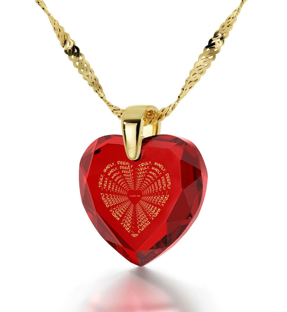 """Good Valentines Day Gifts for Girlfriend, Gold Pendants for Womens, CZ Red Heart, Presents for Her Christmas"""