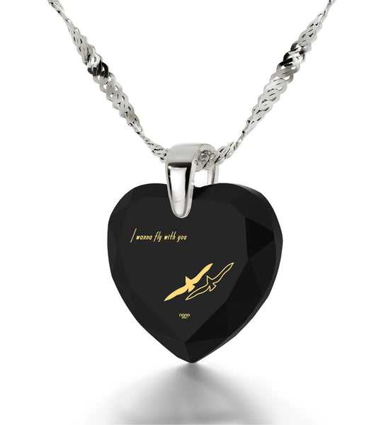 """Black Cubic Zirconia Jewelry, ""I Wanna Fly with You"" Engraved In 24k Gold, Best Gift for Girlfriend by Nano Jewelry"""