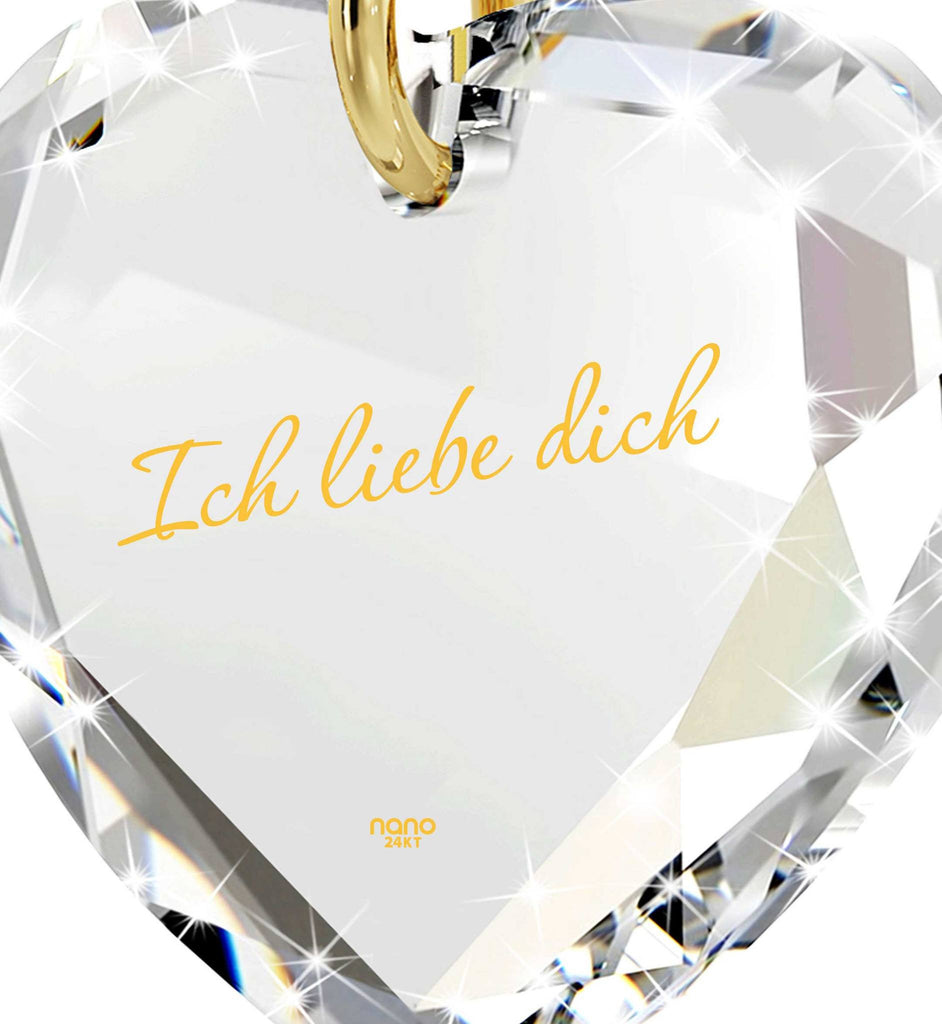 """I Love You"" in German ""Ich Liebe Dich"" Engraved in 24k Pure Gold, Swarovski Jewelry, Girlfriend Gift Ideas"