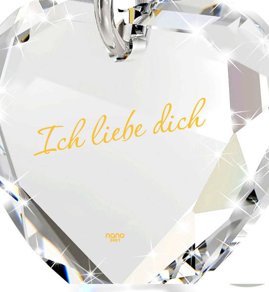 """I Love You"" in German ""Ich Liebe Dich"" Engraved in 24k Pure Gold, Swarovski Necklace, Present for Girlfriend"