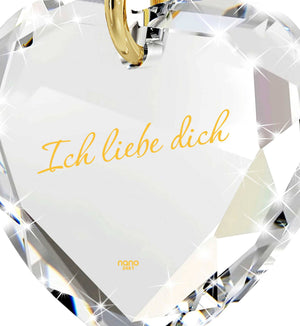 "I Love You in German ""IchLiebe Dich"" Engraved in 24k Pure Gold, Swarovski Necklace, Present for Girlfriend"