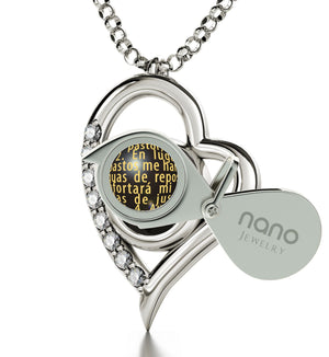 """JehovaEsMiPastorEngraved in 24k: ValentinesPresents for Her, Top Gifts for Mom, HeartShapedPendant by Nano"""