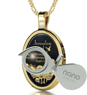 """""JerusalemofGold"" withPsalm122-6Imprint, Gifts for 70thBirthday, ChristmasPresents for Parents, BlackStoneNecklace"""