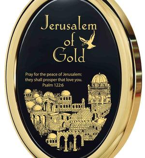 """""JerusalemofGold"" withPsalm122-6Imprint, Gifts for 70thBirthday, Presents for BestFriends, BlackStoneNecklace, NanoJewelry"""