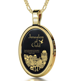 """""JerusalemofGold"" withPsalm122-6Imprint, UnusualXmasGifts, Presents for BestFriends, BlackOnyxNecklace,NanoJewelry"""