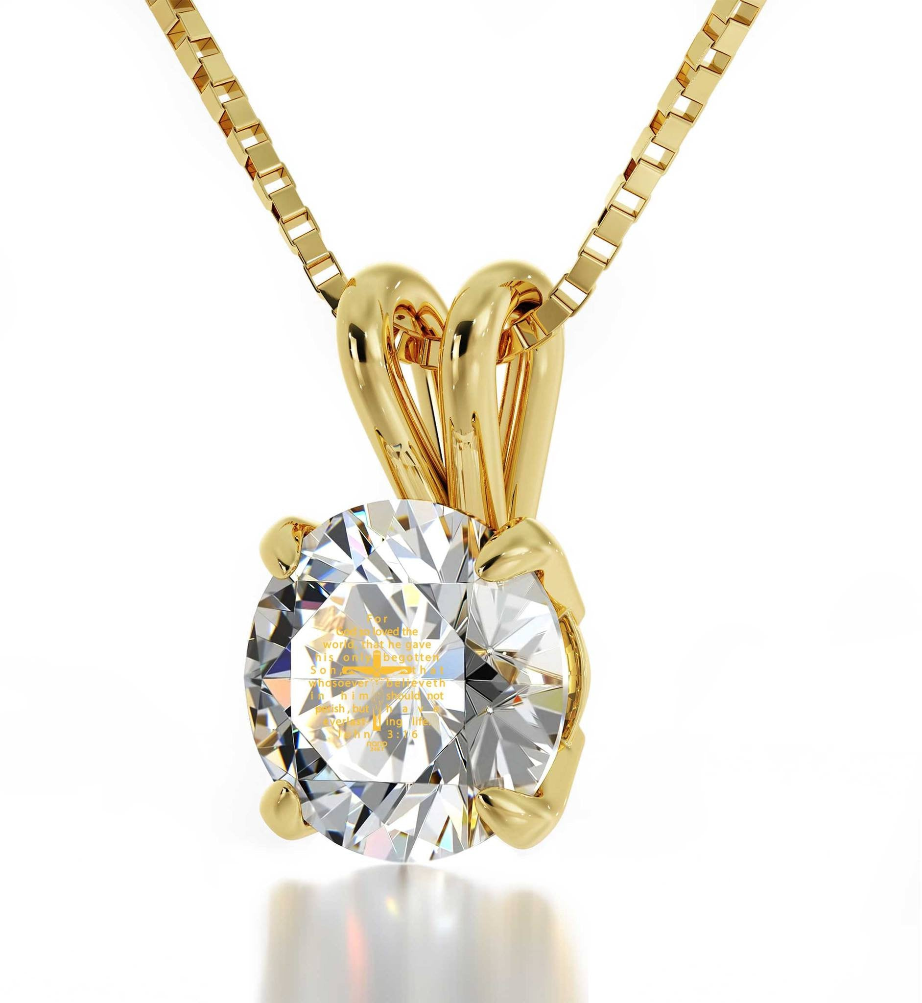 """John 3-16Engravedin 24k, LadiesGifts for Christmas, Presents for MomBirthday, DiamondSolitaireNecklace"""