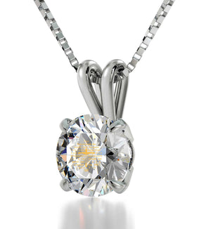 """John 3-16 Engravedin 24k, LadiesGifts for Christmas, Presents for MomBirthday, DiamondSolitaireNecklace"""