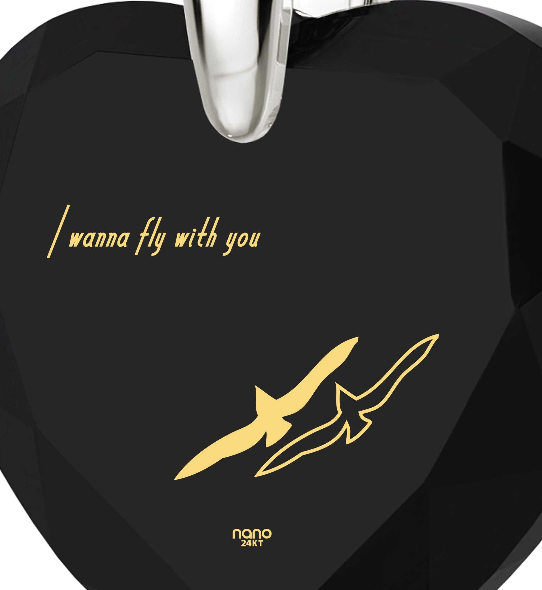 """Best Valentine Gift for Her, ""I Wanna Fly with You"", CZ Black Heart, Romantic Birthday Ideas for Girlfriend """