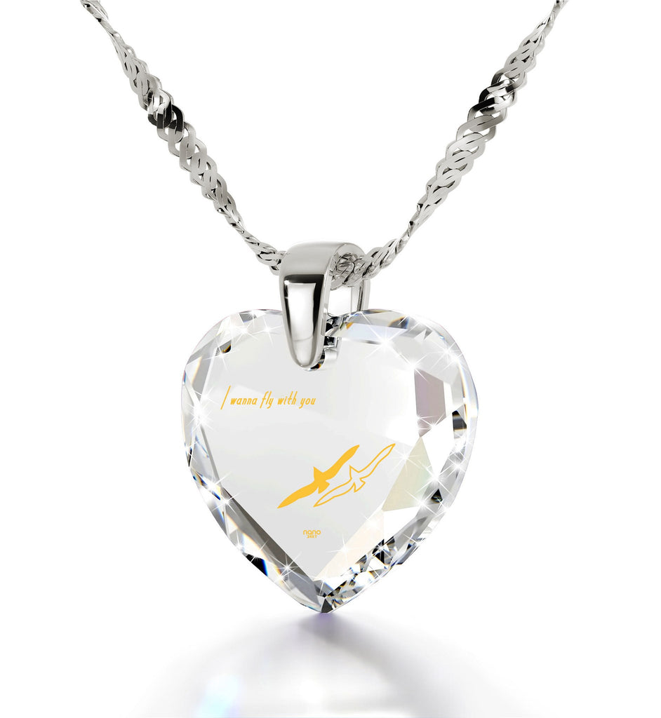 """Best Valentine Gift for Her, Meaningful Necklaces, CZ White Heart, Best Christmas Present for Girlfriend by Nano Jewelry """