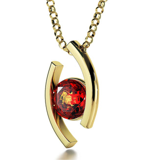 """Leo Jewelry With 24k Zodiac Imprint, Christmas Ideas for Mum, Great Gifts for Women, Ruby Necklace"""