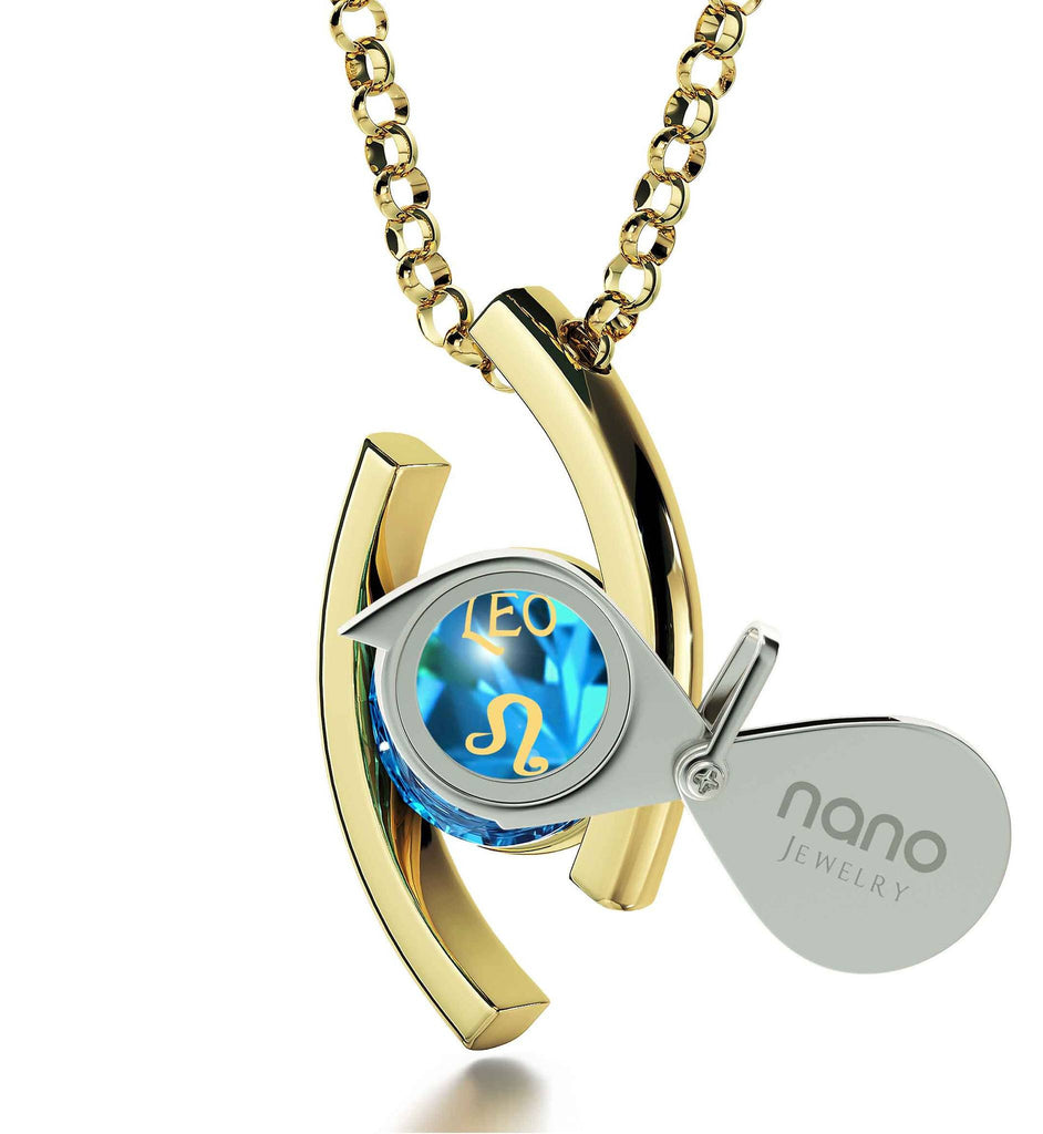 """Leo Zodiac Necklace With 24k Imprint, Top Valentines Gifts for Her, Christmas Present for Boss, Blue Stone Jewellery"""
