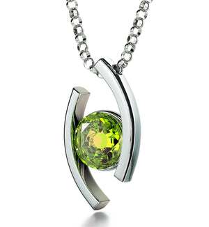 """Leo Jewelry With 24k Zodiac Imprint, Best Valentine's Day Gifts for Her, Birthstone Necklace for Mom, Peridot Necklace"""