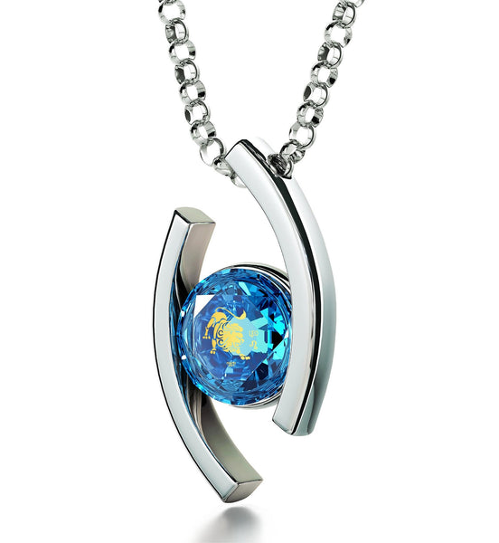"""Leo Jewelry With 24k Zodiac Imprint, Diamond Necklace for Her, Thank You Gifts for Women, Blue Stone Pendant"""