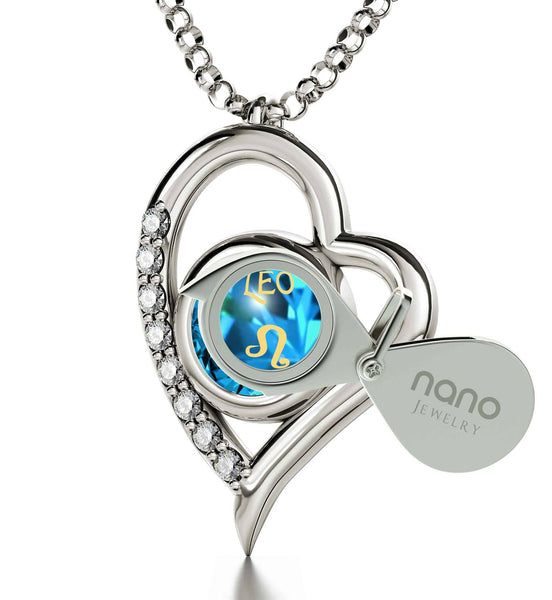 """Leo Necklace: Blue Stone Jewelry, Xmas Ideas for Wife, Gifts for Best Friend Woman"""