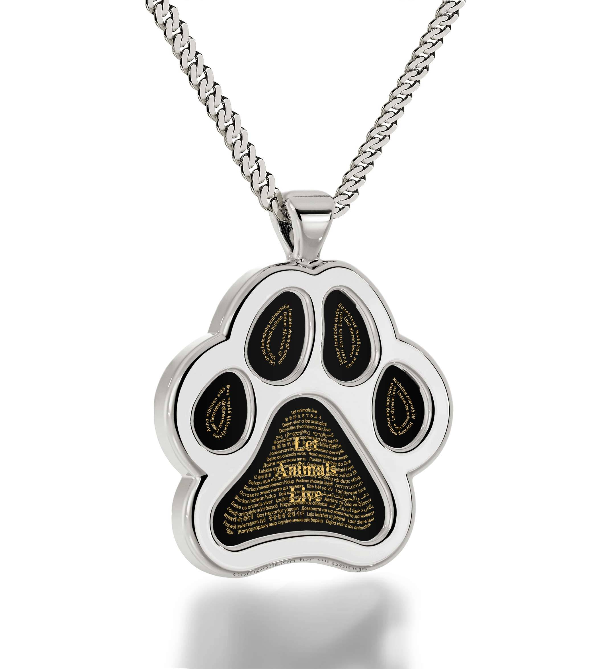 "Gifts for Dog Lovers Vegetarians and Vegans: Paw Necklace with ""Let Animals Live"" In 60 Languages Nano Jewelry"