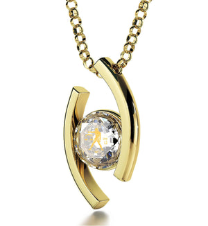 """Libra Jewelry With 24k Zodiac Imprint, Unusual Xmas Gifts, Birthday Presents for Women, Quartz Crystal Necklace"""