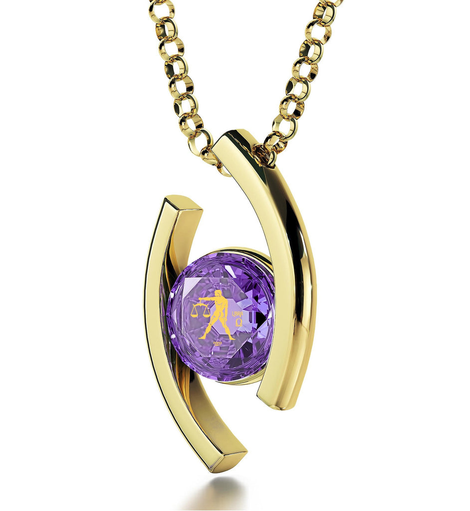 """Libra Jewelry With 24k Zodiac Imprint, Valentines Ideas for Her, Womens Gold Necklace, Purple Pendant"""