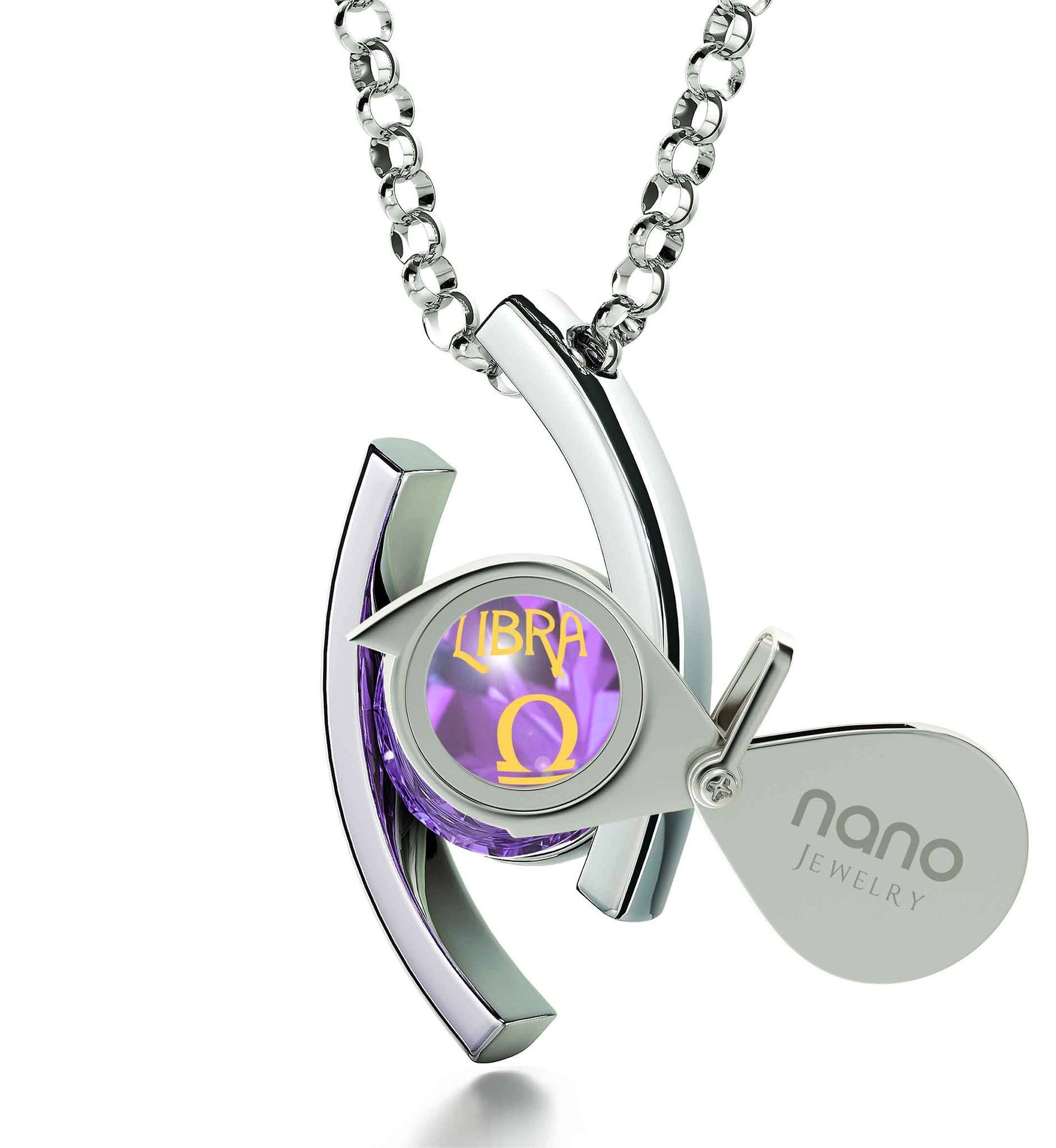 """Libra Jewelry With 24k Zodiac Imprint, Womens Christmas Ideas, Best Gift for Wife, October Birthstone Necklace"""