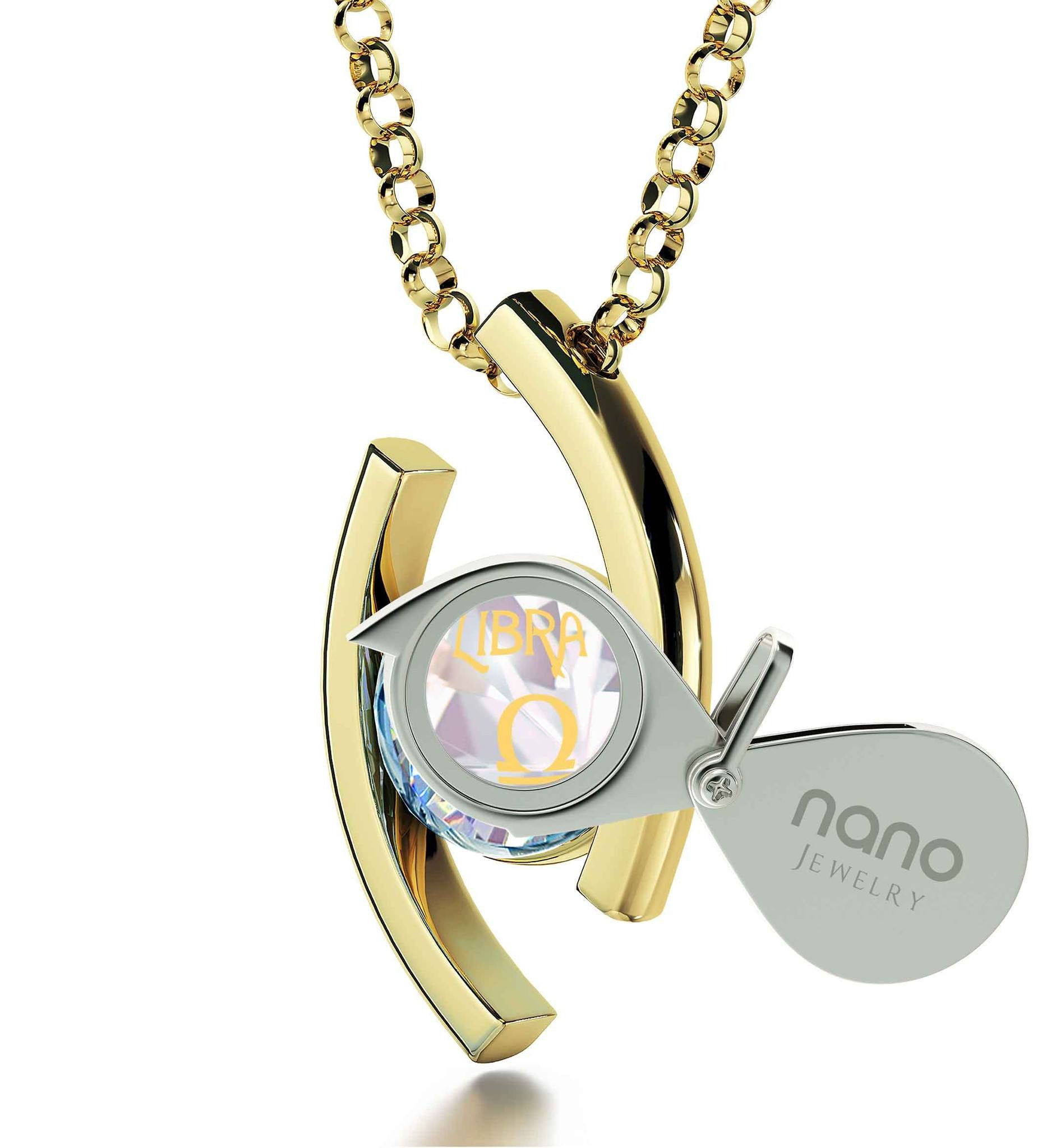 """Libra Jewelry With 24k Zodiac Imprint, Valentines Ideas for Her, Womens Gold Necklace, by Nano"""