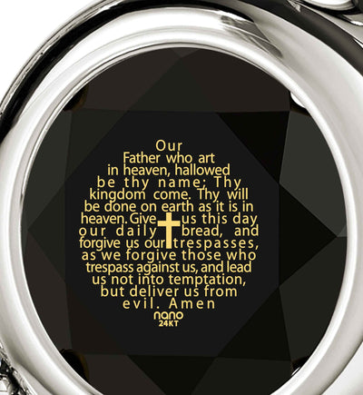 """Lord's Prayer in 24k Imprint, Top Womens Gifts, Scripture Necklaces,White Gold Jewellery, Nano"""
