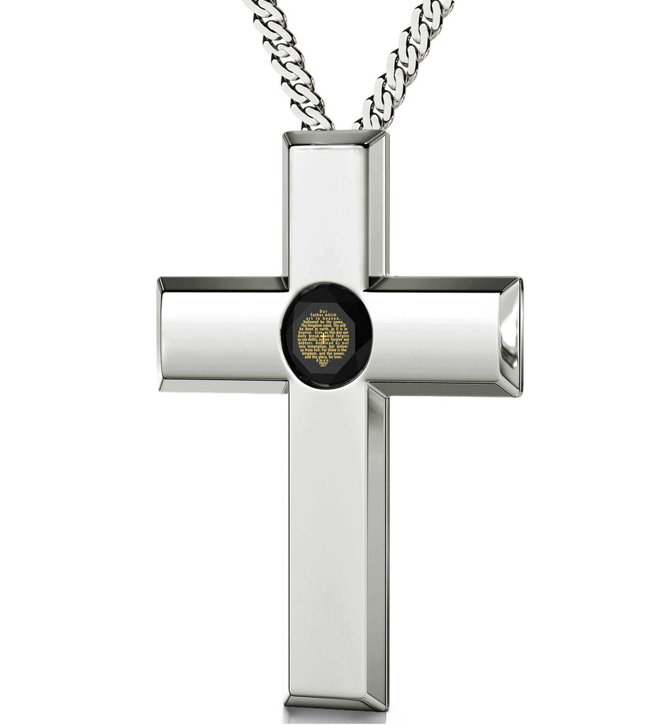 Lord's Prayer Cross Necklace, Gifts for Best Friend Woman, Birthday Present Ideas for Her, Engraved Pendants