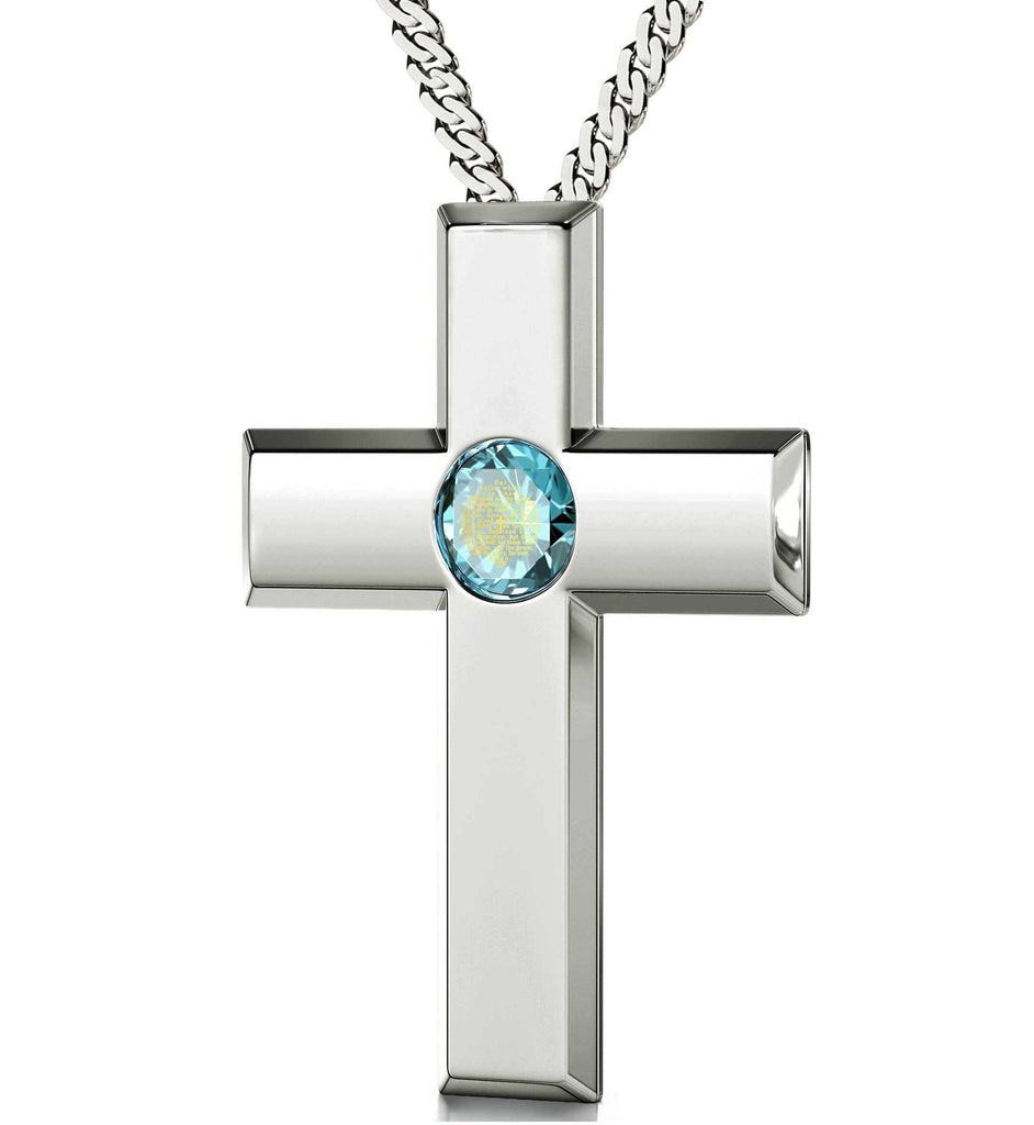 Lord's Prayer Pendant, Christmas Ideas for Mum, Womens Silver Cross Necklace, Meaningful Jewelry
