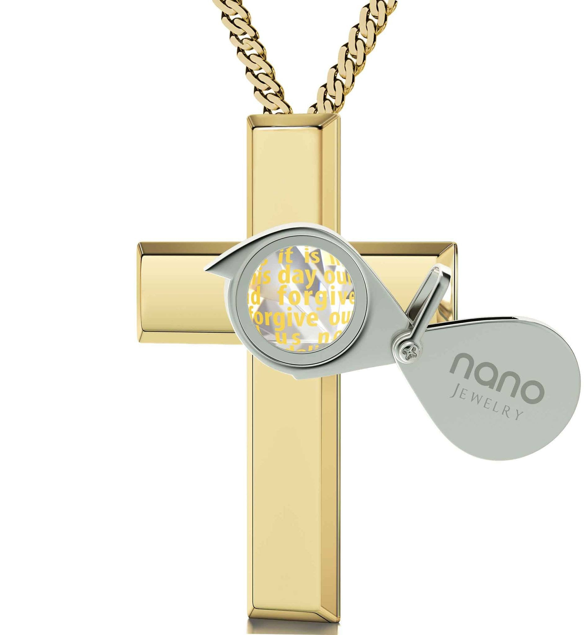 Lord's Prayer Engraved In 24k Gold Cross Necklace For Girl Birthday Present For Best Friend Meaningful Jewelry