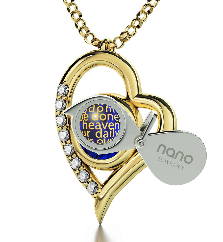"""Lord's Prayer Catholic, Womens Presents,Cool Gifts for Girlfriend, Gold Filled Chain, Nano Jewelry"""